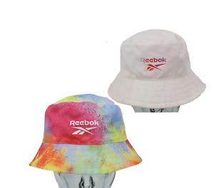 Vintage Reebok Streetwear Spell Out Reversible Tie Dye Bucket Hat Cap Size Large