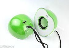 Green Apple shape LED light Mini USB2.0 Speaker for Cellphone PSP Tab/ Computer