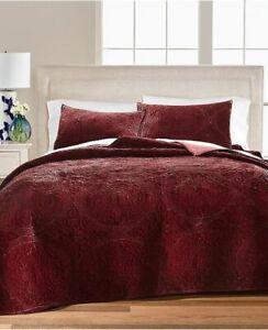 Martha Stewart Medallion Tufted Velvet FULL / QUEEN Quilt ONLY Burgundy NEW $300