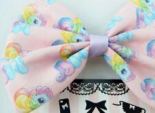 My Little Pony Kawaii Pink Handmade Fabric Hair Bow - Ponies with Rainbow Mane