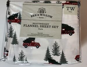 Bee & Willow Flannel Sheet Set Red Pickup Truck Christmas Pine Tree Twin  NEW