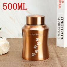 Cremation Urns Ashes Memorial Pet Cat Dog Steel Secure Threaded Lid 500Ml Gold