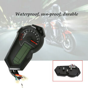 12V Motorcycle Digital Gauge Fuel Tacho Odo Meter Kmh Indicator Waterproof
