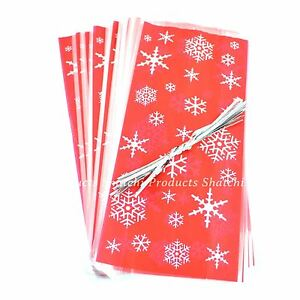20 Red Cello Cellophane Christmas Favour Treat Sweet Party Loot Bags With Ties