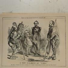 """7x10 """"Punch Cartoon 1862 un nuevo juicio de París Italia Vaticano / Victor Emmanue"""