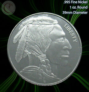 "2012 ""Indian Head"" 1oz .995 Nickel Round Limited and Rare"
