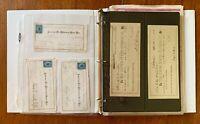 US, Excellent assortment of OLD Bank Checks, Revenue Stamps, Stocks, Postcards +
