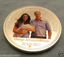Prince George Baby Silver Jewel Inlaid Coin Medal London Christening Gift 2013