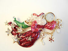 NEW KIRKS FOLLY SEAVIEW MOON SANTA'S DREAM PIN / PENDANT GOLDTONE