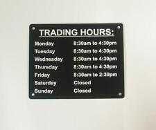 CUSTOM TRADING HOURS ENGRAVED SIGN FOR YOUR BUSINESS