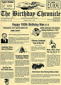 PERSONALISED NEWSPAPER,DAY YOU WERE BORN,18th 21st,30th,40th,50th,60th,65th.70th