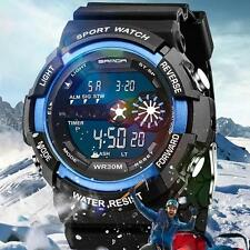 Men Stainless Steel LED Digital Alarm Waterproof Sport Army Quartz Watch blue MT