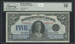 Dominion of Canada $5, 1924 - DC-27. Famous Queen Mary Note