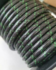 8mm SUPPRESSION CORE BRAIDED CLOTH Black with Green tracers SPARK PLUG WIRE foot
