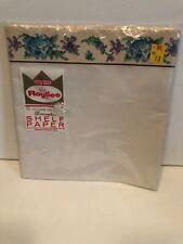 Vintage SHELF PAPER Decorative Edge ROYLIES Aqua and Purple Flowers