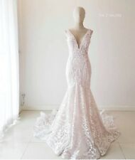 Beautiful Hand Made Beaded Ivory Wedding Dress In Perfect Condition Size 8 or 10