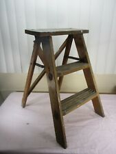 Vintage Wood Wooden 2 Step Ladder Rustic Primitive Farm Country Plant Stand (b)