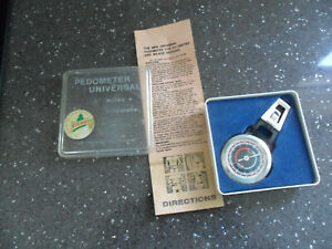 RARE Vintage Boxed Universal Miles + Kilometer Pedometer With Original Papers