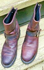 Code West Brown Leather Cats Paw Neoprene Oiled Biker Boots Buckle Women's 7 Zip