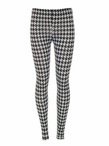 New Ladies Women's  Girls Dog Tooth Hounds  Tooth Jersey Gym Leggings 8-26