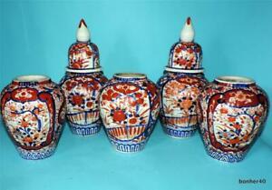 JAPANESE PORCELAIN IMPERIAL MEIJI IMARI COBALT BLUE CONSOLE SET OF 5 VASES