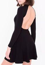 Original American Apparel Deep V Neck Velvet Black Skater Dress XS Rsavv3142