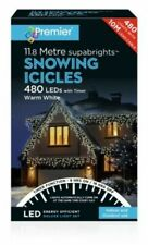 PREMIER 480 LED SNOWING ICICLES WITH TIMER WARM WHITE 11.8MTR INDDOR OUTDOOR USE