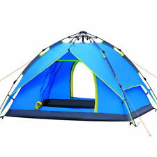 3-4 Person Blue Double layer Waterproof Family Camping Hiking Auto Instant Tent