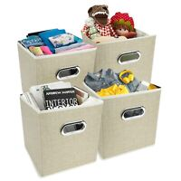 Set of 4 Foldable Storage Boxes Collapsible Fabric Storage Cubes Coffee Folding