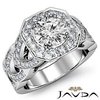 Real Round Diamond GIA G VS2 18k White Gold Engagement Halo Pave Set Ring 2.78ct