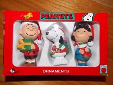 1990s Kurt Adler 3-Piece Set Charlie Brown Snoopy Lucy Christmas Ornaments NIB