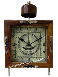 """Nautical Table 7"""" Clock Wooden Brown frame Collectible Victoria Desk Decor"""