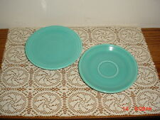 """2-PC """"FIESTA"""" HOMER LAUGHLIN TURQUOISE BLUE 1-SAUCER & 1-PLATE/USA/CLEARANCE!"""