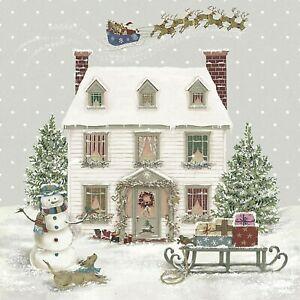 4 x Single Paper Napkins/3Ply/Decoupage/Christmas/Winter Wonderland/Snow Scene