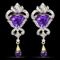 18k Pure yellow Gold Natural Top Amethyst Diamond Ladies Earrings Pair VTJ EHS