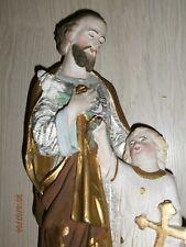 ANCIENNE STATUE RELIGIEUSE/SAINT JOSEPH ET L'ENFANT JESUS/PLATRE/H.44 cm/N°2