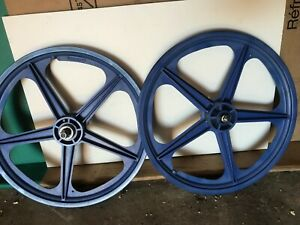Skyway Mag wheels , (blue) Old school BMX used (made in USA)
