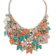 Ladies Orange, Pink Teal and Mint Buttefly Necklace