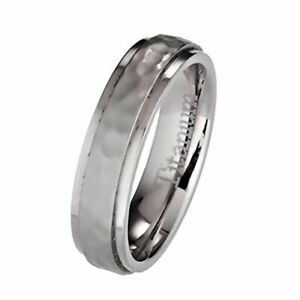 5mm or 7mm Hammered Titanium Wedding Band Recessed Edges Comfort Fit Ring