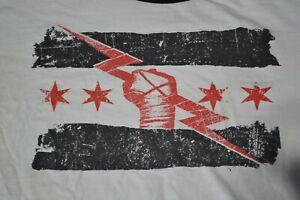 CM PUNK Best In The World Mens White Ringer Shirt 2XL Double Sided Wrestling WWE