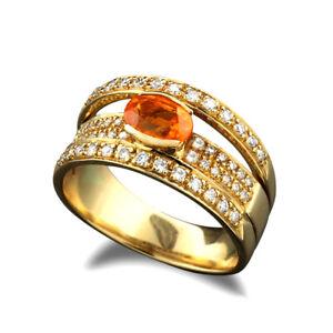 Ring orangefarbener Granat 1,17 carat und Brillanten 0,42 ct, 750er Gelbgold