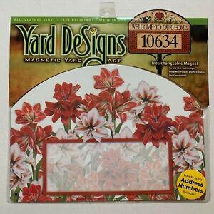 Yard DeSigns Magnetic Yard Art Sign Three Amaryllis Floral W/ Address Numbers