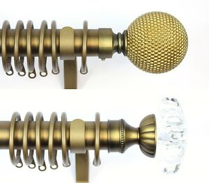 Old Gold 28mm Metal Curtain Poles With Ball or Glass Flower Finials 120 - 360cm