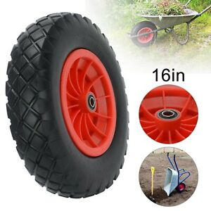 "PU Wheel 16 Inch 16"" 4.80-8  4.00-8 Tyre Puncture Proof Solid Wheelbarrow Cart"
