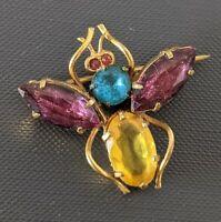 Art Deco Czech Glass Insect Bug Brooch - 1920s / 1950s Bohemian