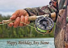 PERSONALISED FISHERMAN FISHING BIRTHDAY or FATHERS DAY CARD BLANK INSIDE