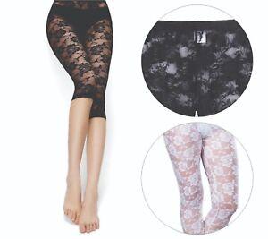 Women Sexy 3/4 Length Floral Pattern Lace Leggings S-XXL Black White AU Size6-20