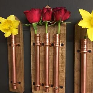 Handmade Copper & Oak Flower Holder. Pot Vase Hanger