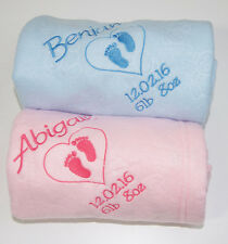 Personalised Embroidered Baby Fleece Blanket Girls Boys Christening NewBorn Gift