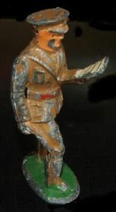 Vintage Barclay Manoil Lead Toy Soldier Figure Walking Reading List Map Book